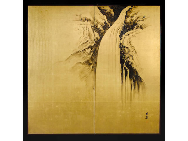 A two-leaf screen, ink on paper, by Kunsei [1875-1941];