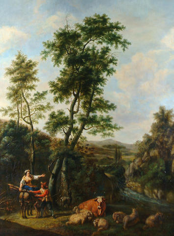 Manner of Francesco Zuccarelli Tending the cattle and gathering wood in a pastoral landscape.