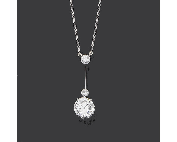 An early 20th century diamond pendant necklace,