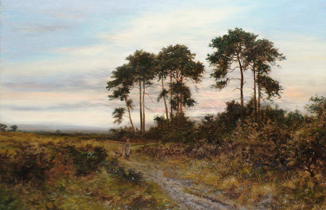 Daniel Sherrin (British, 1868-1940) Figures on path at twilight