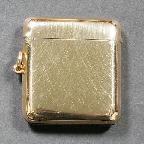 An 18 carat gold vesta case By W. Neale Ltd., Birmingham, 1924,
