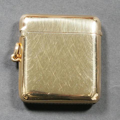 An 18 carat gold vesta case By W. Neale Ltd., Birmingham, 1924,