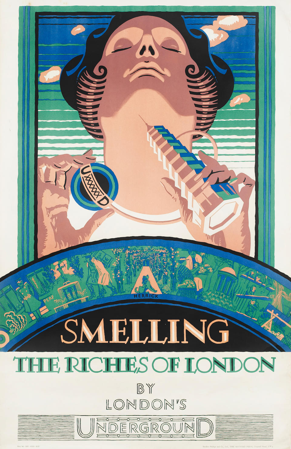 Frederick C. Herrick (British, 1887-1970) Smelling, Seeing, Hearing, Touching and Tasting the Riches of London 1927, the set of five posters, printed by Sanders Phillips and Co., Ltd., The Baynard Press, London; 1015 x 633mm (39 7/8 x 24 7/8in)(SH)(condition A/B) 5