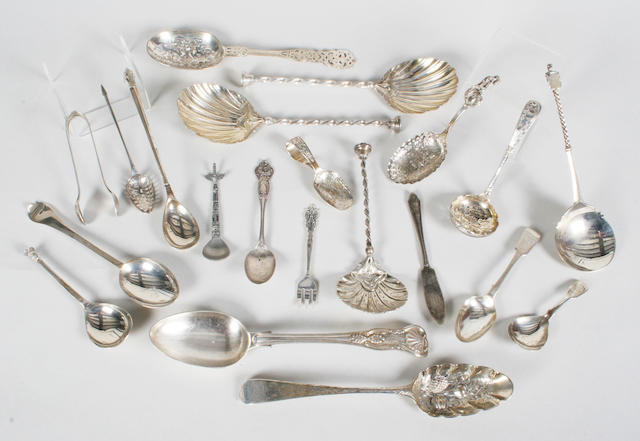 A pair of decorative serving spoons and a matching sifter spoon 1890,  (qty)