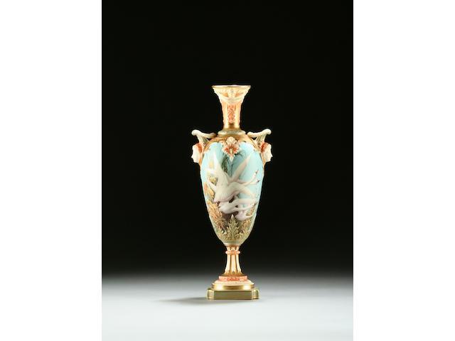A Royal Worcester vase by Charley Baldwyn, circa 1907