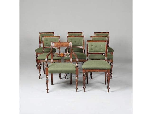 A set of seven late Regency gonzalo alves dining chairs