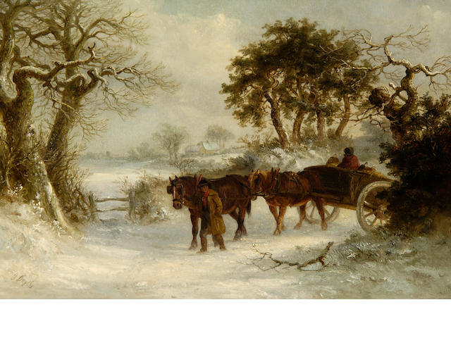 Thomas Smythe (British, 1825-1906) Winter landscape with figures and a horse drawn cart and a companion, Summer landscape with plough horses watering, a pair.(2)