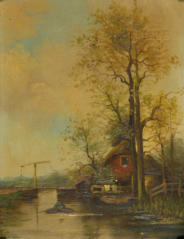 Fredericus Jacobus du Chattel (Dutch, 1856-1917) A boatman on the canal