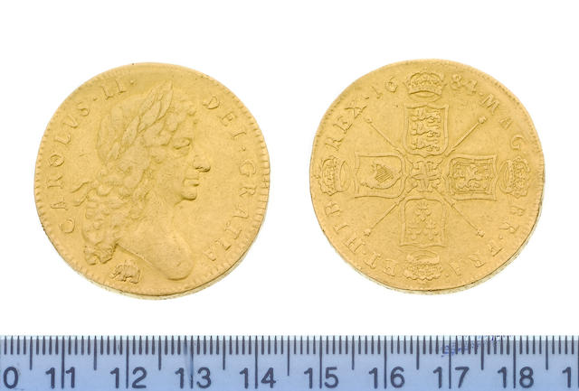 Charles II, Five Guineas, 1684, SEXTO, first bust with Elephant and Castle below,