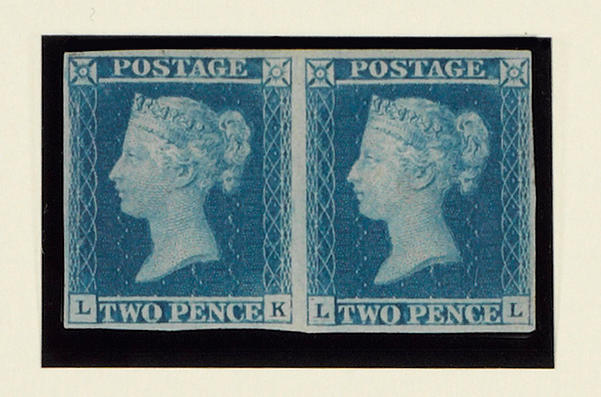 1841 2d. Plate 3: LK-LL horizontal pair mint, superb colour, small to good margins, trace of thinning at the extreme right, virtually full original gum. Signed Diena.