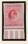 1902-13 K.E.VII: 5/- selection with 1902-10 deep bright carmine and 1911-13 two shades, one marginal, slight faults, large part o.g. or o.g.