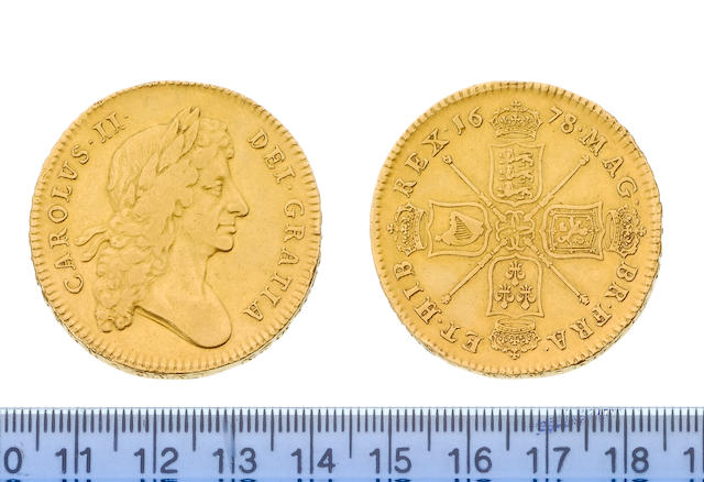 Charles II ( 1660-85 ), Five Guineas, 1678, 8 over 7, larger first laureate bust right, pointed truncation, long hair extending down less with less curls at termination, ties thicker and shorter, CAROLVS.II. DEI.GRATIA, toothed border both sides,