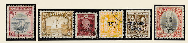 A magnificent used King George VI collection from 1936 to 1952 housed in four New Age albums, of which the first two have no blank spaces, all stamps are fine c.d.s. used, and include (apart from innumerable sets to the top value, the 1948 Royal Silver Wedding omnibus, and splendid groups of Japanese Occupation stamps for Burma, Hong Kong and Malaya) Aden 1937 Dhows, Bahrain 1938-41 to 25r., Bermuda 1938-53 to £1 with many shades, British Solomon Islands 1940 Postage Dues, Burma 1937 to 25r., Br