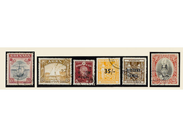A magnificent used King George VI collection from 1936 to 1952 housed in four New Age albums, of which the first two have no blank spaces, all stamps are fine c.d.s. used, and include (apart from innumerable sets to the top value, the 1948 Royal Silver Wedding omnibus, and splendid groups of Japanese Occupation stamps for Burma, Hong Kong and Malaya) Aden 1937 Dhows, Bahrain 1938-41 to 25r., Bermuda 1938-53 to £1 with many shades, British Solomon Islands 1940 Postage Dues, Burma 1937 to 25r., British Guiana 1938-52 Perf.14 x 13 $1 marginal on piece, Grenada 1938-50 Perf.12 10/-, Indian States with Cochin and Travancore, Malaya Kedah 1937 $5, Kelantan 1937-40 to $5, New Guinea 1939 Air 5d. to £1, New Zealand Postal Fiscals 1931-40 values to 30/-, £2 and £3, 1939 35/- on 35/-, 1940 11/- on 11/- and Samoa 1945-53 5/- to 30/-, also further material on leaves and in envelopes.