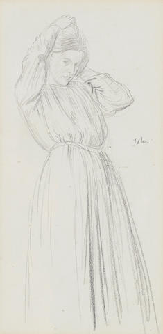 Sir Augustus John O.M., R.A. (British, 1878-1961)Standing female  34 x 17 cm. (13 3/8 x 6 5/8 in.)