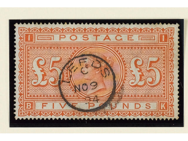 1882-83 wmk. Anchor on white paper: £5 orange BK (S.G.137), bright colour, corner crease and traces of soiling, very fine used.