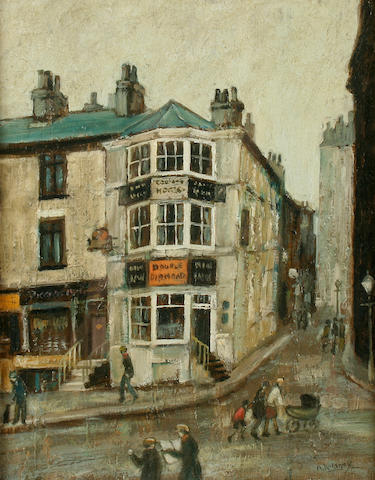 Arthur Delaney (British, 1927-1987) The corner shop, 26 x 20 cm. (10 1/4 x 8 in.)