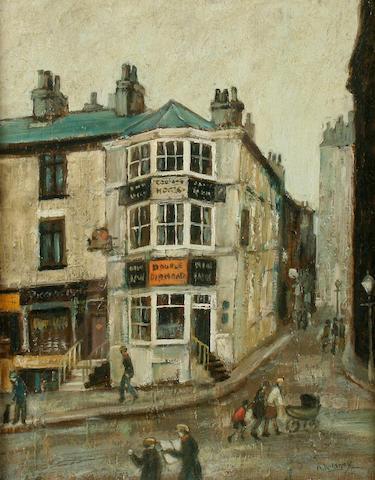 Arthur Delaney (British, 1927-1987)The corner shop 26 x 20 cm. (10 1/4 x 8 in.)