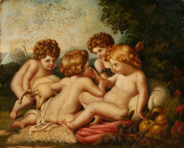 Manner of Francesco Bartolozzi (Early 19th century) Cherubs in a landscape,