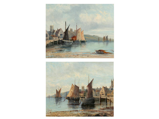 1 pair oil s- J Bale - Cornish Fishing Villages  J. Bale  A Cornish fishing village, together with another similar, a pair,