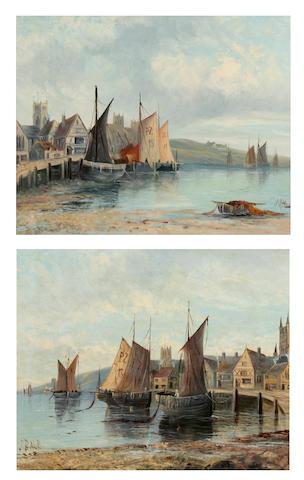 1 pair oil s- J Bale - Cornish Fishing Villages  J. Bale  A Cornish fishing village, together with another similar, a pair,