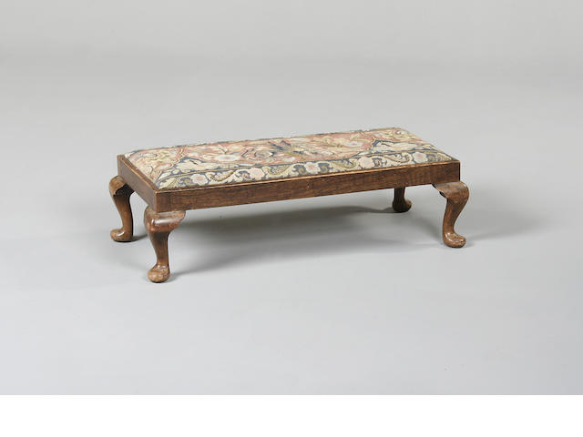 A Georgian style mahogany low foot stool