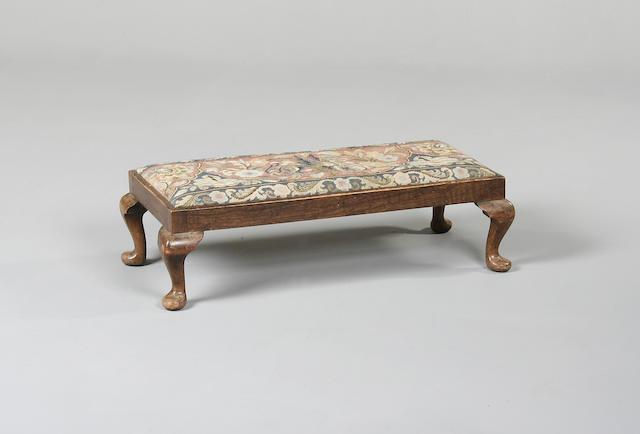 A Georgian style mahogany low foot stool