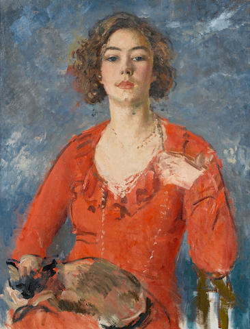 Augustus John O.M., R.A. (British, 1878-1961) Poppet seated in a red dress with a cat on her lap 91.5 x 71 cm. (36 x 28 in.)