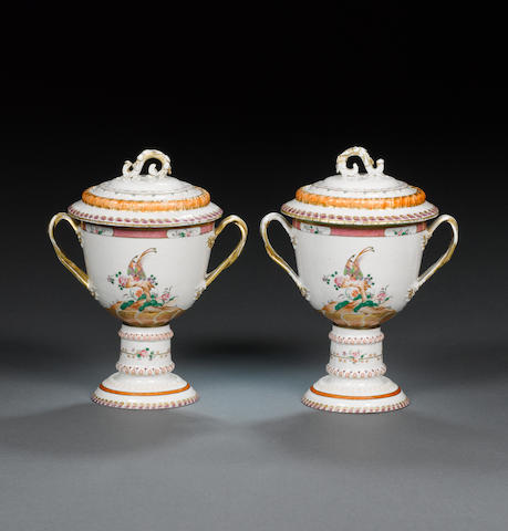 A fine pair of large famille rose loving cups  Qianlong, circa 1775-95