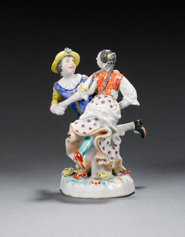 A fine famille rose model of a dancing European couple Qianlong