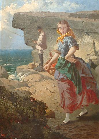 William Edward Millner (British, 1849-1895) The fisherwoman