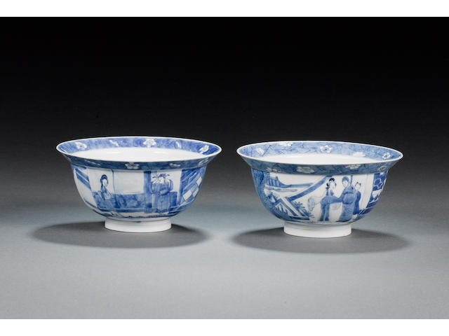 A pair of fine blue and white bowls Kangxi six-character marks and of the period