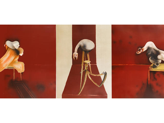 Francis Bacon (British, 1909-1992) 2nd Version of 1944 Triptych Lithographs, forming a triptych, 1989, after the painting, printed in colours, on wove, each signed and inscribed 'E.A' in pencil, aside from the numbered edition of 60; each with minor foxing in the margins, central image with water stain lower right sheet edge, with resultant light cockling, unexamined out of the frame, 1435 x 1090mm (56 1/2 x 42 3/4in)(I) 3