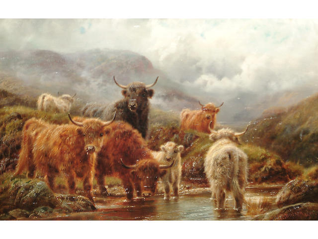 Robert Watson (British, active 1877-1920) Cattle in a highland landscape; Sheep on a headland (2)