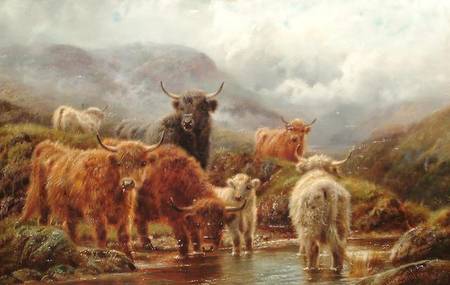 Robert Watson (British, active 1877-1920) Cattle in a highland landscape; Sheep on a headland (2)