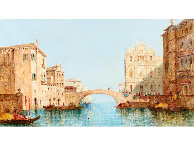 William Meadows (British, fl.1870-1895) Venetian canal scenes, a pair,