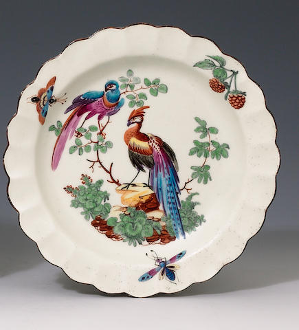 Worcester small plate, c.1770, decorated in the Giles workshop with Fancy Birds, 17.8cm