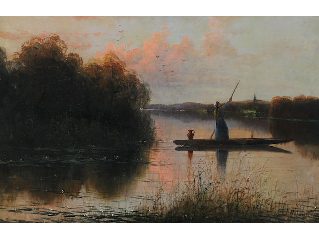 A** Williams (British 19th Century) A maid punting on the river, a church beyond,