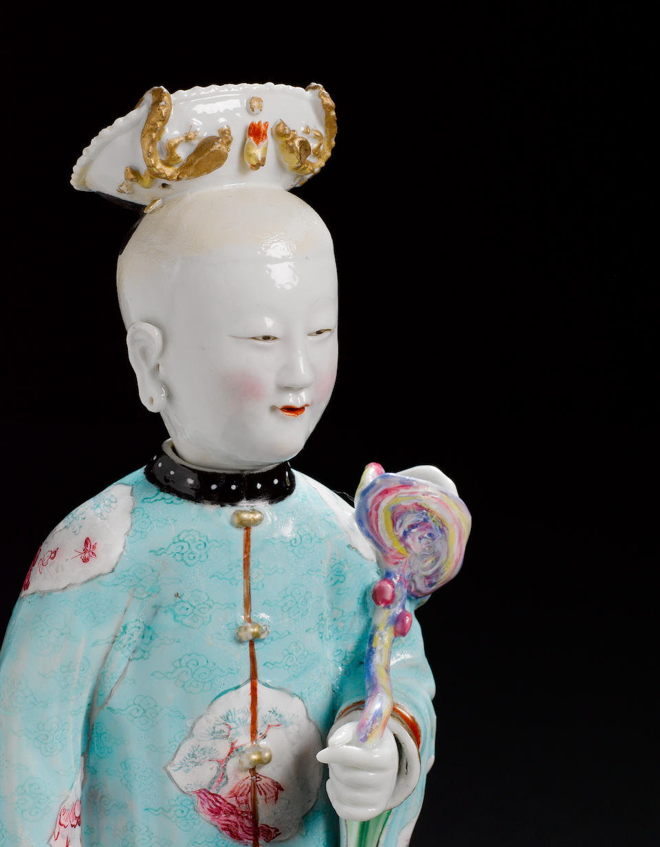 A fine and rare pair of famille rose 'nodding head' ladies Yongzheng/early Qianlong