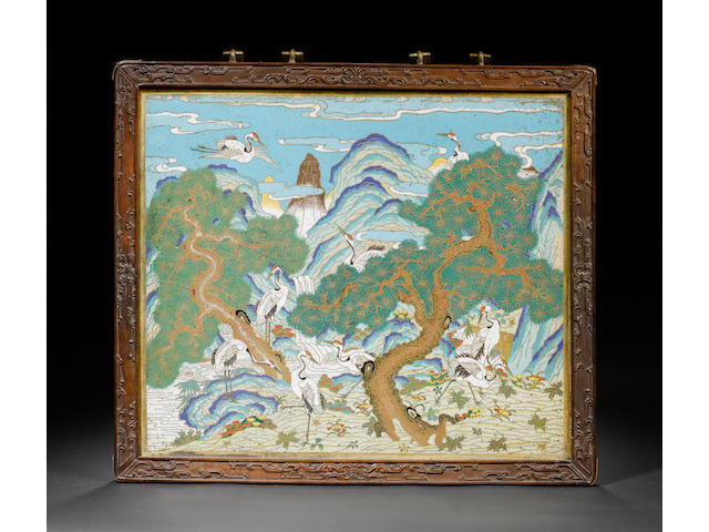 A fine cloisonné enamel rectangular hanging panel 18th century
