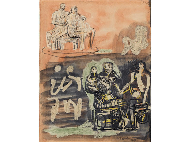 Henry Moore O.M., C.H. (British, 1898-1986) Family Group 20.2 x 16.5 cm. (8 x 6 1/2 in.) (This work is registered with the Henry Moore Foundation as HMF 2241a, From the Rescue Sketchbook)