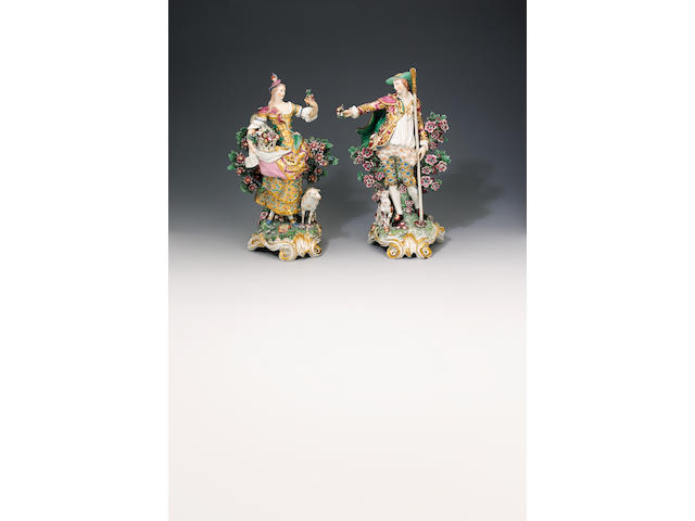 A good pair of Chelsea figures of the 'Imperial Shepherds' circa 1765