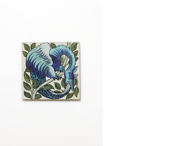 William De Morgan An `Uroborus' Persian Tile, circa 1875