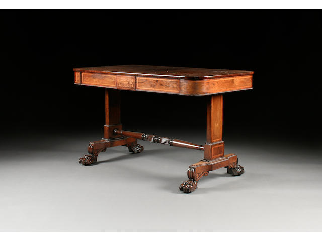 A William IV rosewood and satinwood inlaid library table