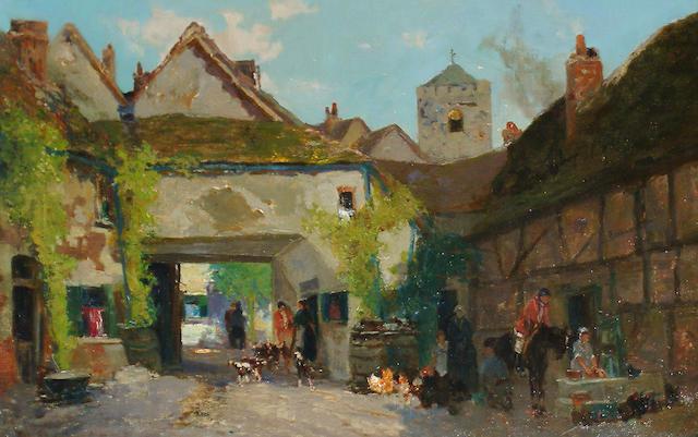 George C Haite (British, 1855-1924) A busy courtyard