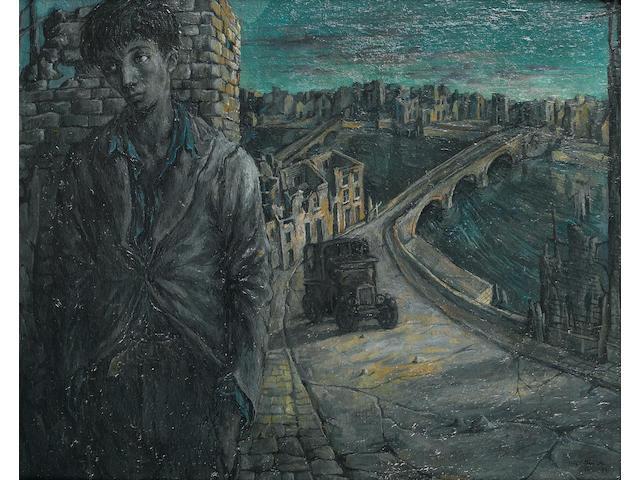 John Minton (1917-1957)Figure in Ruins 41 x 51 cm. (16 1/4 x 20 in.)