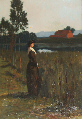 Samuel Reid (British, 1854-1911) A young peasant woman in a marsh field with farm buildings in the distance