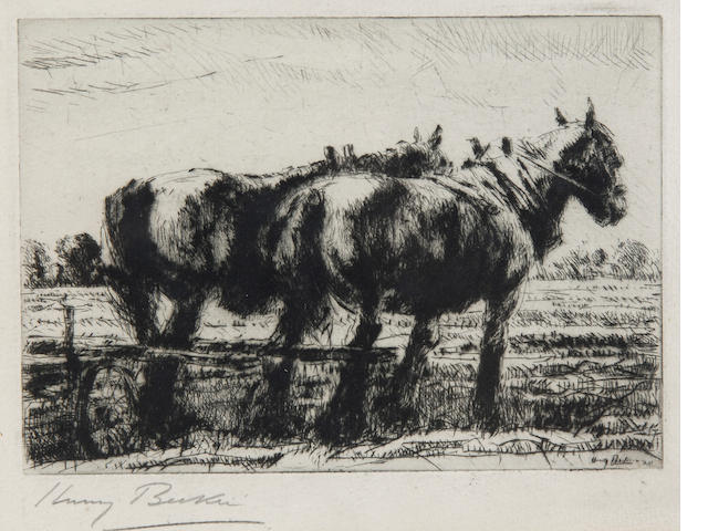 Harry Becker (British, 1865-1928)Plough team plate 12.5 x 7.5cm (5 x 7in).