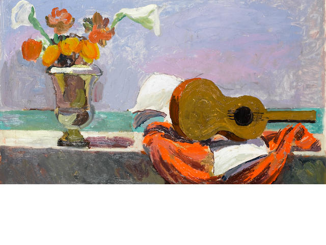 Duncan Grant (British, 1885-1978)Still Life on Balcony by the Sea 43 x 74 cm. (17 x 29 1/8 in.)