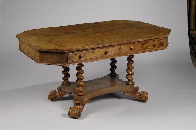A Victorian pollard oak library table